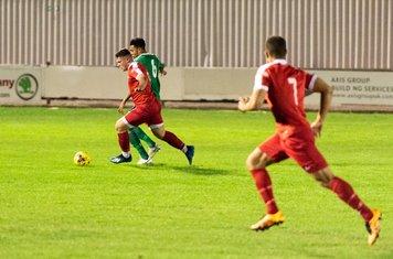 Dylan Kearney picks up Harry Rush's great through ball...