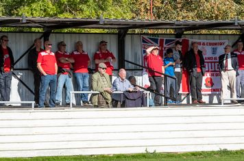 Borough's travelling supporters have to contend with the bright sun