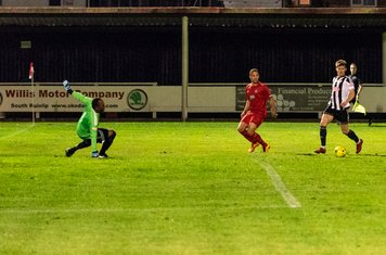 Anthony O'Connor squares the ball...