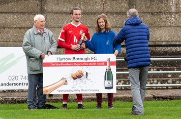 Mitchal Gough receives the Player of the Month Award for his outstanding defensive play in September