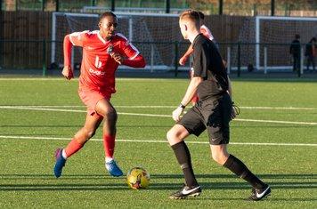 Frank Keita glides past the Referee