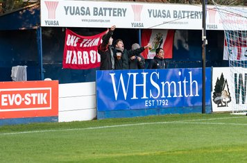 Young Borough supporters amidst the advertising hoardings