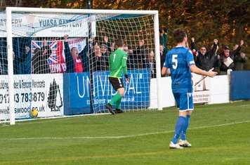 The Borough supporters celebrate taking the lead