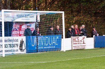 The Borough travelling supporters are ready for a goal...