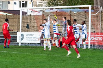 ...as the ball loops into the net