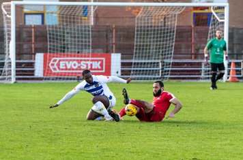 Josh Andrew wins a tackle...