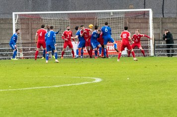 Jonathan Hippolyte gives Met Police a 2 - 1 lead from a corner in the 24th minute