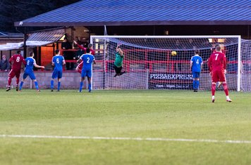 Reece York scores the decisive goal from a Beaconsfield free kick