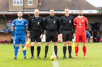 The Officials and captains Stuart Fleetwood and Ryan Moss