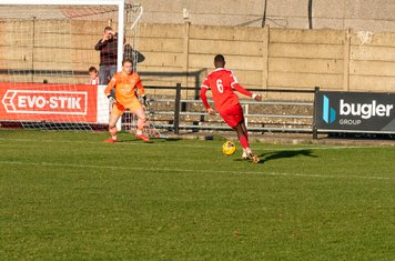 ...the ball reaches Frank Keita with only Luke Cairney to beat...