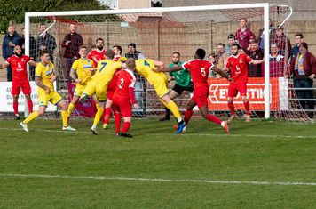 A dangerous looking ball in the Borough goal area...