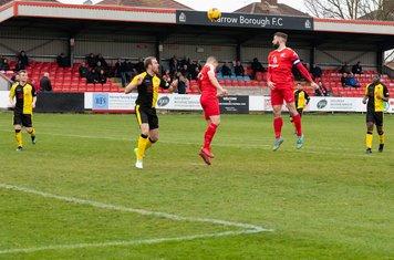 Ryan Moss heads towards goal