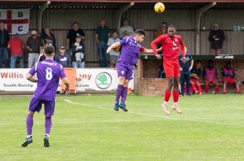 Frank Keita heads on the halfway line