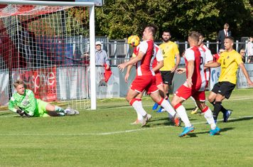 Borough are putting plenty of pressure on the Poole goal...