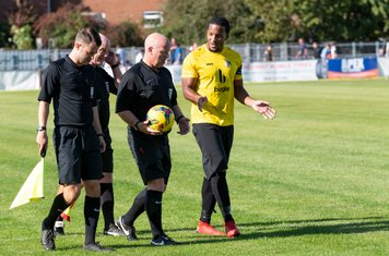 Shaun Preddie has a word with the Officials