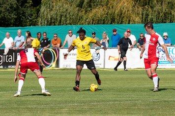 Kunle Otudeko looks for a gap