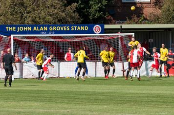 Borough struggle to clear an early corner...