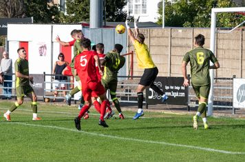 Pressure on the Carshalton goal...