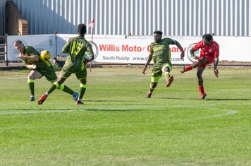 Kunle Otudeko shoots, but the first half ends with Borough trailing 0 - 1