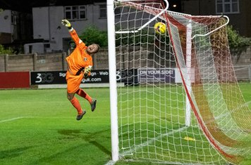 ...and the ball is in Lewis Noice's net. 1 - 0 (20 mins)