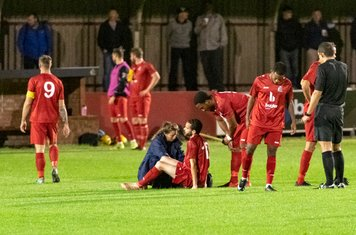 Michael Bryan has to go off injured after 10 minutes, to be replaced by Frank Keita