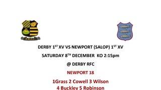 Derby 1st XV VS Newport (Salop) 1st XV 8th December @ Derby