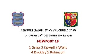 NEWPORT (SALOP)  1ST XV VS LICHFIELD 1st XV SATURDAY 15TH DECEMBER  KO 2:15pm