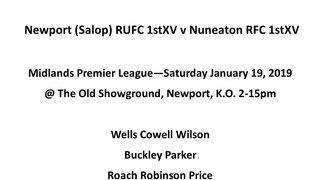 Team Sheet Newport 1st XV V Nuneaton 1st XV 19th Jan