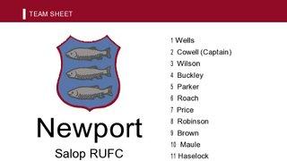 Team Sheet Newport 1st XV  Vs Scunthorpe at XV 9th Feb