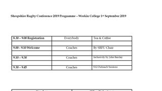 Shropshire Rugby Conference 2019 Programme – Wrekin College 1st September 2019