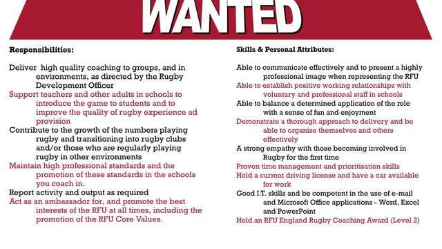 RFU All Schools Coach Wanted