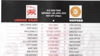 WRFC 1st XV vs London Welsh RFC 1st XV - 14 April 2018