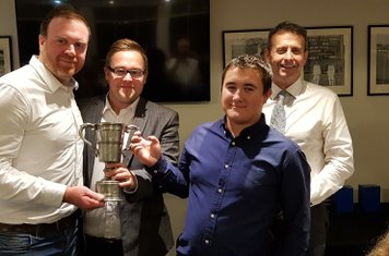 Chris Brotherton & Kieran Buck, captain & coach of our 3rd XI T20 team, recieves the Mid Sussex League Wisdom T20 Cup from Dan Lloyd of Diamond Electrical