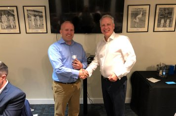Paul Hardwick collecting his unexpected Player of the Year award from Dave Mates. Paul is sadly leaving us next season due to job committments in London