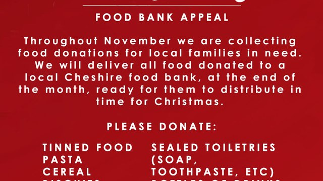 Chester RUFC M&Js Food Bank Appeal