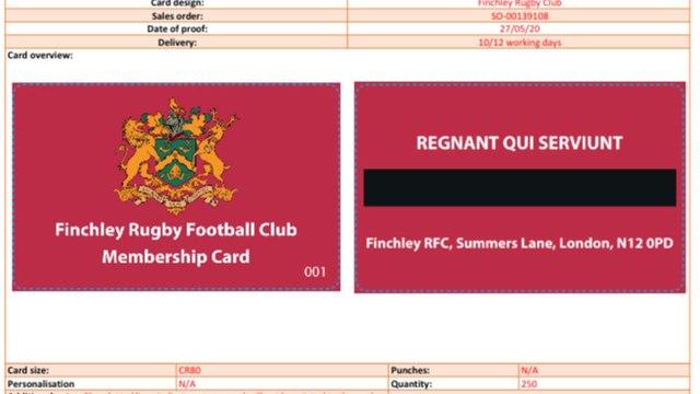 Finchley RFC Club Membership Card