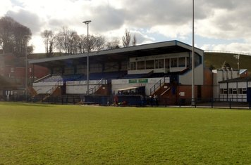 Main stand with new dugouts.