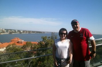 04/01/2013 - Ian Oxley with daughter Lauren enjoying the sunshine and blue skies in Perth, Western Australia. Ian's proudly wearing his Shirebrook Town replica shirt, proving he's a 'Brookie on Tour'. The photo was taken Christmas 2012.