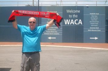 07/01/2013 - 'Brookie on Tour' Ian Oxley sharing his Shirebrook Town scarf with everyone at the famous WACA Cricket Ground in Perth, Western Australia. The photo was taken Christmas 2012.