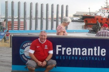 07/01/2013 - 'Brookie on Tour' Ian Oxley wearing his Shirebrook Town replica shirt during a visit to Fremantle, Western Australia. The photo was taken Christmas 2012.