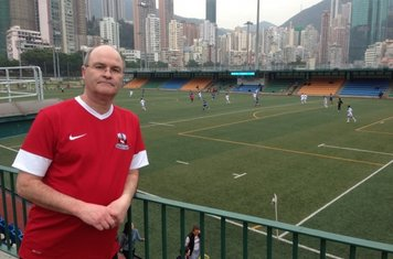 04/03/2013 - 'Brookie on Tour' Steve Wall inside the stadium at the Hong Kong Football Club, Happy Valley, Hong Kong Island. The photo was taken during Steve and his wife's visit to see their Chris and his family at the end of February 2013.