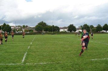 Euan kicking the ball away