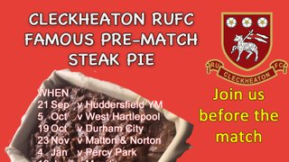 Join Us For Pre-Match Steak Pie!