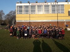 Beccs welcome Saracens for New Year coaching camp for almost 100 young players (and that's just day 1 !)