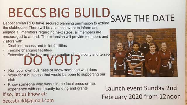BECCS BIG BUILD - LAUNCH EVENT SUNDAY 2ND FEBRUARY 2020