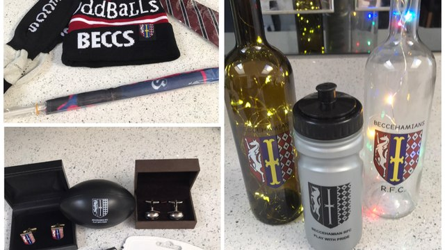Club shop selection of items currently in stock
