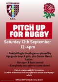 """BECCS """"PITCH UP FOR RUGBY"""" CLUB DAY - SATURDAY 12 SEPTEMBER 2020"""