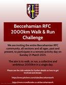 Beccehamian RFC 2,000km Walk & Run Challenge - Sunday 21 March 2021