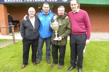 Councillors Maurice John Byrne and Patrick McKinley with Member of Parliament Bill Esterson and Manager John Brownrigg and the Pyke Cup which was won by Maghull Football Club on Friday 6th May 2011