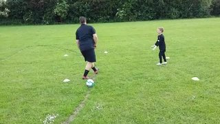 Junior Goalkeepers Theo and Ethan in action with Darren